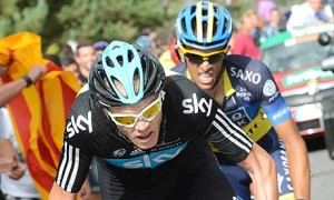 Chris Froome is shadowed by Alberto Contador