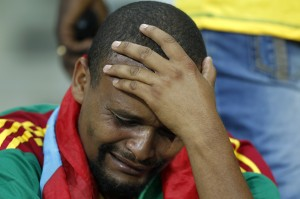 An fan of Ethiopia reacts after his team lost to Burkina Faso during their AFCON 2013 Group C soccer match in Nelspruit