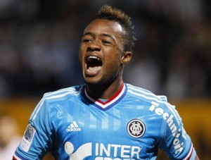 Olympique Marseille's Jordan Ayew celebrates his goal against AS Nancy during French Ligue 1 soccer match in Nancy