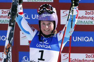 First placed Tessa Worley of France reacts after her second run of the women's Giant Slalom race at the World Alpine Skiing Championships in Schladming
