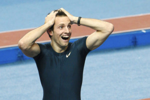 Renaud Lavillenie of France reacts after setting a pole vault indoor world record at the Pole Vault Stars meeting in Donetsk