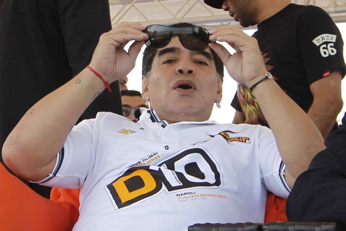 FOOTBALL : Diego Armando Maradona  - testimonial to the UIM XCAT World Series Powerboat Racing - Naples - 26/05/2014