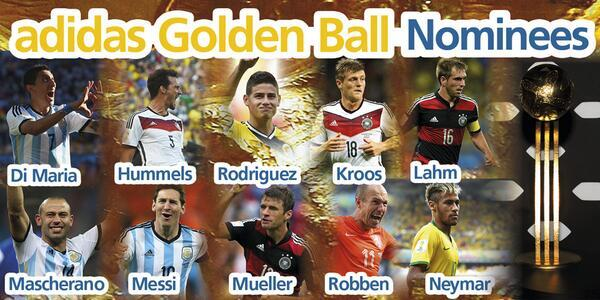 La fifa d voile les nomin s pour le ballon d 39 or de la coupe du monde africa top sports - Ballon de la coupe du monde 2014 ...