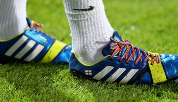 LONDON, ENGLAND - SEPTEMBER 18: Joey Barton of QPR wears rainbow coloured shoe laces during the Sky Bet Championship match between Queens Park Rangers and Brighton & Hove Albion at Loftus Road on September 18, 2013 in London, England. (Photo by Charlie Crowhurst/Getty Images) *** Local Caption *** Joey Barton