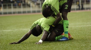 Congolese team Vita Club players react o