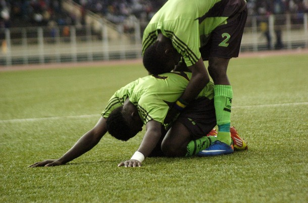 Congolese team Vita Club players react o