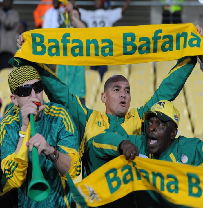 RUSTENBURG, SOUTH AFRICA - JUNE 17: South African fans  during the FIFA Confederations Cup match between South Africa and New Zealand at Royal Bafokeng stadium on June 17, 2009 in Rustenburg, South Africa. Photo by Lefty Shivambu / Gallo Images