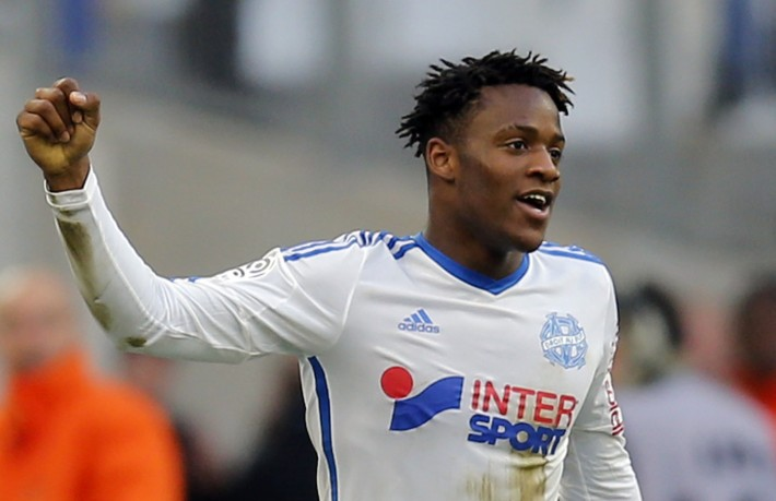 Olympique Marseille's Batshuayi celebrates after scoring against Lille during their French Ligue 1 soccer match in Marseille