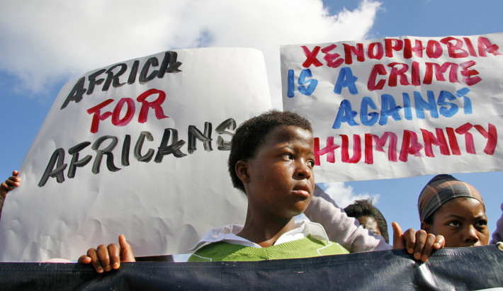 Demostrators march against the recent wave of xenophobic attacks in Khayelitsha township near Cape Town