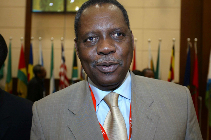 Issa Hayatou, President of CAF (Confederation of African Football), speaks at the opening ceremony of 29 CAF general assembly at Khartoum, Sudan