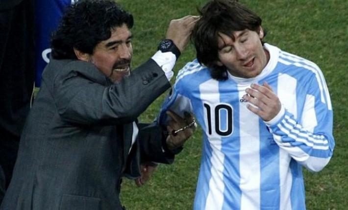 diego maradona & lionel messi