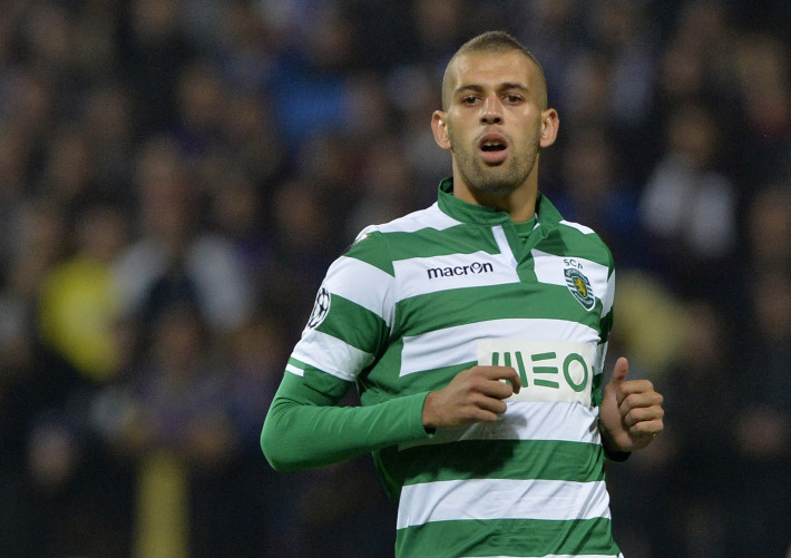 MARIBOR,SLOVENIA - SEPTEMBER 17:   Islam Slimani of Sporting Clube de Portugal in action during the UEFA Group G Champions League football match between NK Maribor and Sporting Lisbon at the Ljudski vrt Stadium on September 17, 2014 in Maribor, Slovenia. (Photo by Samuel Kubani/EuroFootball/Getty Images)