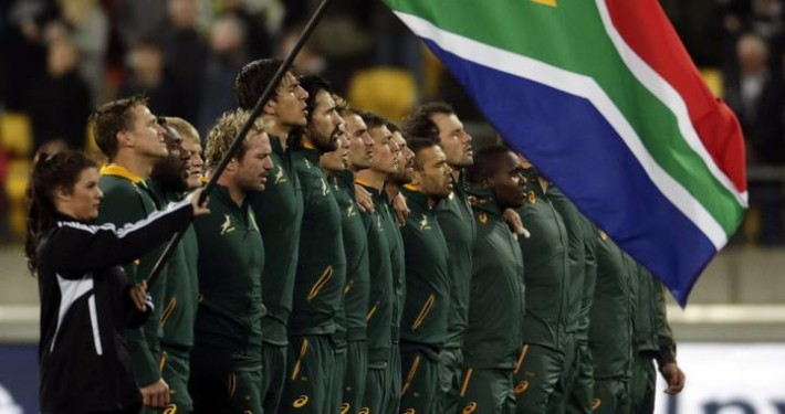 South Africa's Springboks sing their national anthem before playing New Zealand's All Blacks in their Rugby Championship match at Westpac Stadium in Wellington, September 13, 2014. REUTERS/Anthony Phelps (NEW ZEALAND - Tags: SPORT RUGBY) - RTR462OE