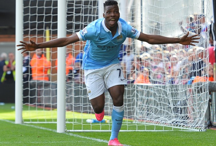Manchester City's Nigerian striker Kelechi Iheanacho celebrates scoring the winning goal during the English Premier League football match between Crystal Palace and Manchester City at Selhurst Park in London on September 12, 2015. AFP PHOTO / GLYN KIRK  RESTRICTED TO EDITORIAL USE. No use with unauthorized audio, video, data, fixture lists, club/league logos or 'live' services. Online in-match use limited to 75 images, no video emulation. No use in betting, games or single club/league/player publications.