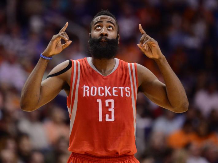 Feb 10, 2015; Phoenix, AZ, USA; Houston Rockets guard James Harden (13) points to the sky against the Phoenix Suns at US Airways Center. The Rockets won 127-118. Mandatory Credit: Joe Camporeale-USA TODAY Sports ORG XMIT: USATSI-187800 ORIG FILE ID:  20150210_pjc_aa9_296.JPG