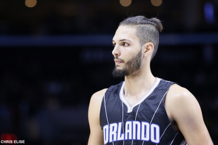 03 December 2014: Orlando Magic guard Evan Fournier (10) rests during the Los Angeles Clippers 114-86 victory over the Orlando Magic, at the Staples Center, Los Angeles, California, USA.