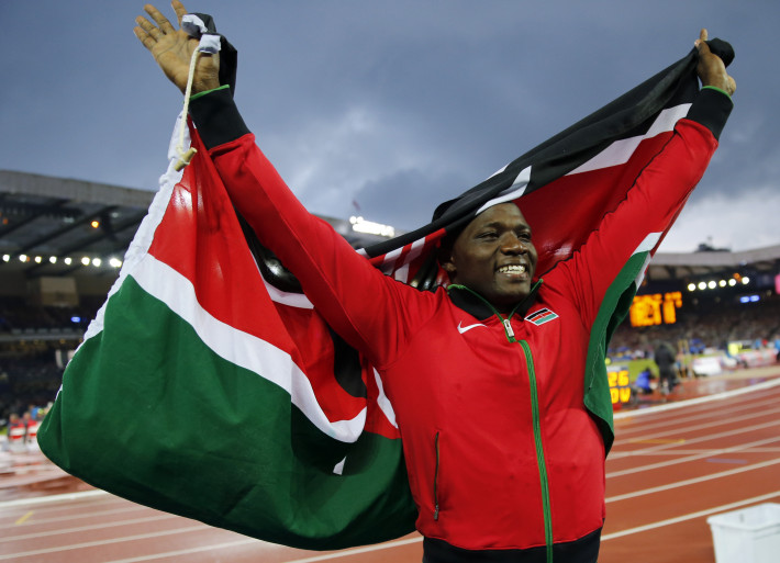 Julius Yego of Kenya celebrates after winning the men's javelin throw at the 2014 Commonwealth Games in Glasgow, Scotland, August 2, 2014.       REUTERS/Suzanne Plunkett (BRITAIN  - Tags: SPORT ATHLETICS)   - RTR4111K