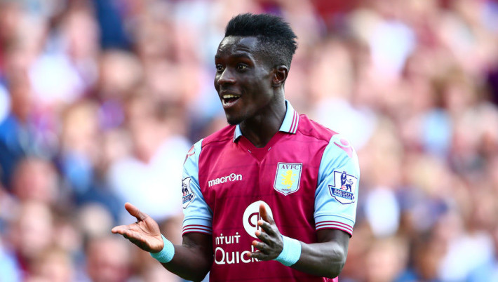 BIRMINGHAM, ENGLAND - AUGUST 29: Idrissa Gueye of Aston Villa reacts during the Barclays Premier League match between Aston Villa and Sunderland at Villa Park on August 29, 2015 in Birmingham, England.  (Photo by Jordan Mansfield/Getty Images)