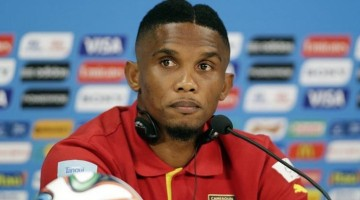 epa04263993 Cameroon's captain Samuel Eto'o listens to a question during a press conference at the Arena Amazonia in Manaus, Brazil, 17 June 2014. Cameroon will face Croatia in the FIFA World Cup 2014 group A preliminary round match on 18 June.....(RESTRICTIONS APPLY: Editorial Use Only, not used in association with any commercial entity - Images must not be used in any form of alert service or push service of any kind including via mobile alert services, downloads to mobile devices or MMS messaging - Images must appear as still images and must not emulate match action video footage - No alteration is made to, and no text or image is superimposed over, any published image which: (a) intentionally obscures or removes a sponsor identification image; or (b) adds or overlays the commercial identification of any third party which is not officially associated with the FIFA World Cup)  EPA/MAST IRHAM   EDITORIAL USE ONLY  EPA/MAST IRHAM   EDITORIAL USE ONLY  EDITORIAL USE ONLY