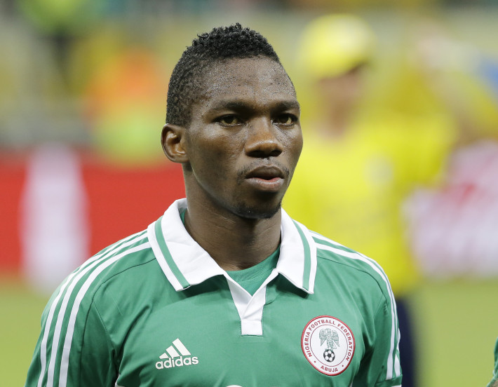 Nigeria's Kenneth Omeruo prior to start of the soccer Confederations Cup group B match between Nigeria and Uruguay at Fonte Nova stadium in Salvador, Brazil, Thursday, June 20, 2013. (AP Photo/Antonio Calanni)