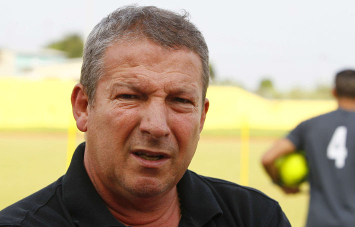 Niger technical director Roland Courbis from France, and former coach of Marseille Montpellier and Bordeaux attends a training session ahead of their next African Cup of Nations Group C soccer match in Libreville, Gabon, Sunday, Jan. 29, 2012. (AP Photo/Francois Mori)/XFM121/120129037053/1201292117