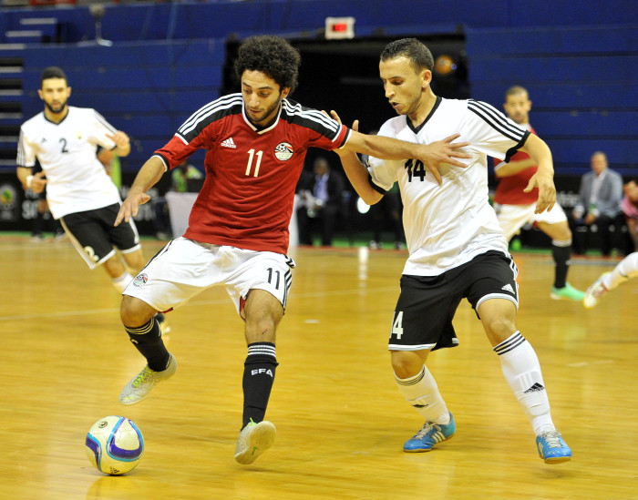 Kareem Ahmed of Egypt challenged by Mohamed Ghaeb of Libya during the 2016 Futsal African Cup of Nations match between Egypt and Libya at the Ellis Park Stadium in Johannesburg, South Africa on April 16, 2016 ©Samuel Shivambu/BackpagePix