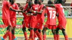 Malawi players celebrate their goal against Swaziland in a match they drew 1-1 all in Bulawayo, Zimbabwe on Wednesday.