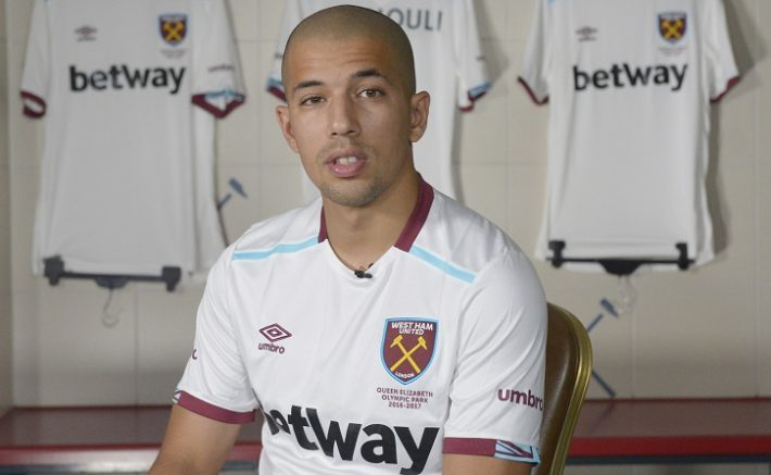 LONDON, ENGLAND - JUNE 14: West Ham United Unveil New Signing Sofiane Feghouli at Boleyn Ground on June 14, 2016 in London, England. (Photo by Arfa Griffiths/West Ham United via Getty Images)