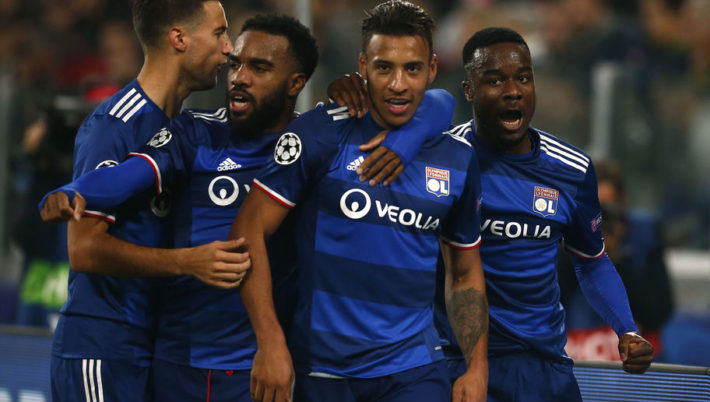 Lyon's French midfielder Corentin Tolisso (2ndR) celebrates with teammates Lyon's French forward Alexandre Lacazette (2ndL) and Lyon's French forward Maxwel Cornet (R) after scoring during the UEFA Champions League football match Juventus vs Olympique Lyonnais on November 2, 2016 at the Juventus stadium in Turin.  / AFP / MARCO BERTORELLO        (Photo credit should read MARCO BERTORELLO/AFP/Getty Images)