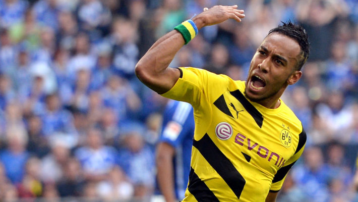 GELSENKIRCHEN, GERMANY - SEPTEMBER 27:  Pierre-Emerick Aubameyang of Dortmund celebrates his team's first goal during the Bundesliga match between FC Schalke 04 and Borussia Dortmund at Veltins Arena on September 27, 2014 in Gelsenkirchen, Germany.  (Photo by Sascha Steinbach/Bongarts/Getty Images)