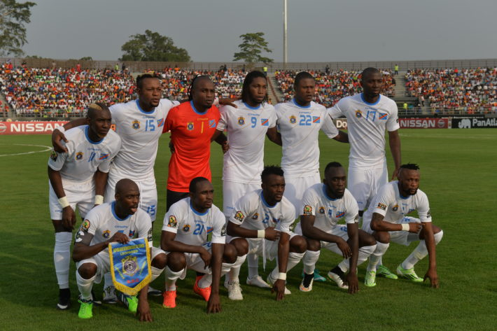 Democratic Republic of the Congo players pose prior to the 2015 African Cup of Nations group B football match between Zambia and Democratic Republic of the Congo in Ebebiyin on January 18, 2015. AFP PHOTO / KHALED DESOUKI