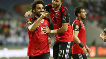 Mohamed Salah of Egypt (l) celebrates goal Mahmoud Hassan Trezeguet of Egypt (r) with during the 2017 African Cup of Nations Finals Afcon semifinal football match between Burkina Faso and Egypt at the Libreville Stadium in Gabon on 01 February 2017 ©Gavin Barker/BackpagePix