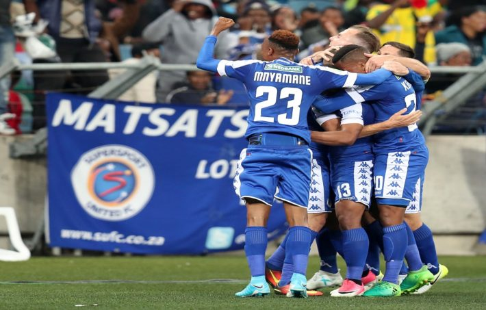 Bradley Grobler of Supersport United celebrates goal with teammates during the 2017 Nedbank Cup Final match between Supersport United and Orlando Pirates at the Moses Mabhida Stadium, Durban South Africa on 24 June 2017 ©Muzi Ntombela/BackpagePix