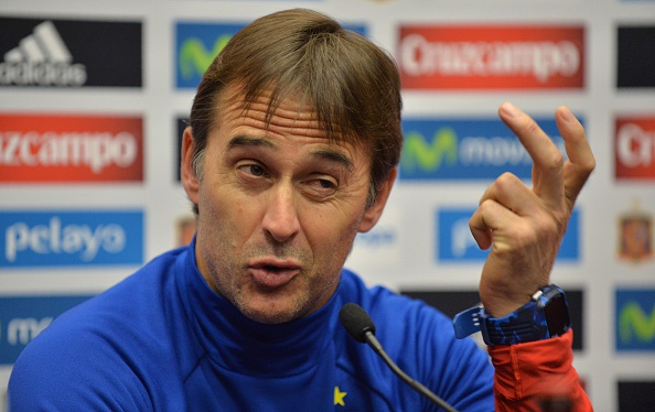 Spain's coach Julen Lopetegui attends a press conference at Wembley Stadium, north-west London, on November 14, 2016 ahead of their international friendly football match against England on November 15. / AFP / OLLY GREENWOOD / NOT FOR MARKETING OR ADVERTISING USE / RESTRICTED TO EDITORIAL USE         (Photo credit should read OLLY GREENWOOD/AFP/Getty Images)