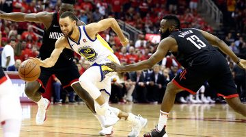 May 28, 2018; Houston, TX, USA; Golden State Warriors guard Stephen Curry (30) dribbles the ball past Houston Rockets guard James Harden (13) during the second half in game seven of the Western conference finals of the 2018 NBA Playoffs at Toyota Center. Mandatory Credit: Troy Taormina-USA TODAY Sports