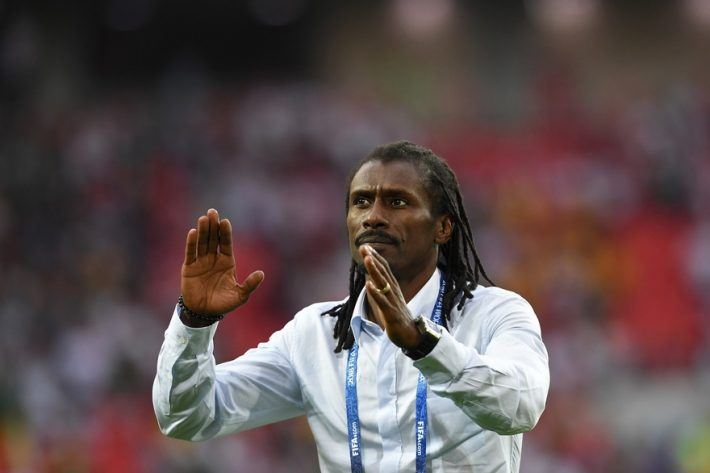 Senegal's coach Aliou Cisse celebrates his team's victory at the end of the Russia 2018 World Cup Group H football match between Poland and Senegal at the Spartak Stadium in Moscow on June 19, 2018. / AFP PHOTO / Francisco LEONG / RESTRICTED TO EDITORIAL USE - NO MOBILE PUSH ALERTS/DOWNLOADS