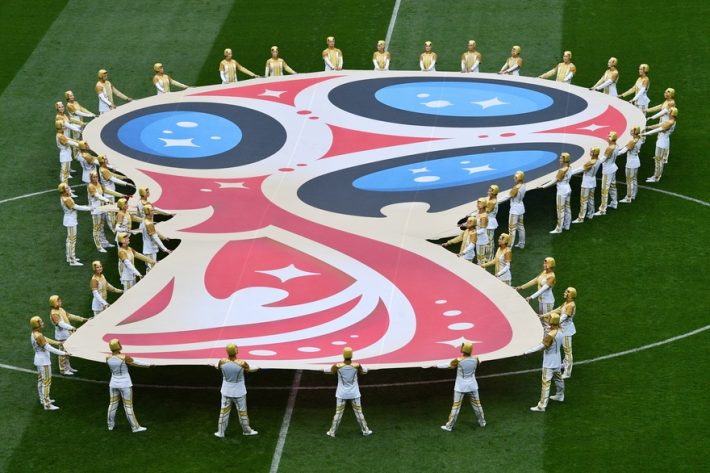 Actors perform during the opening ceremony before the Russia 2018 World Cup Group A football match between Russia and Saudi Arabia at the Luzhniki Stadium in Moscow on June 14, 2018. / AFP PHOTO / Mladen ANTONOV / RESTRICTED TO EDITORIAL USE - NO MOBILE PUSH ALERTS/DOWNLOADS