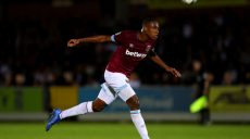 KINGSTON UPON THAMES, ENGLAND - AUGUST 28: Issa Diop of West Ham United during the Carabao Cup Second Round match between AFC Wimbledon and West Ham United at The Cherry Red Records Stadium on August 28, 2018 in Kingston upon Thames, England. (Photo by Catherine Ivill/Getty Images)