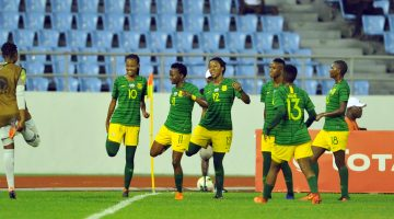 Linda Mothlalo of South Africa celebrates goal with teammates  during the 2018 TOTAL African Womens Cup of Nations match between Equatorial Guinbea and South Africa  on the 21 November 2018 at Cape Coast Stadium, Ghana   / Pic Sydney Mahlangu/BackpagePix