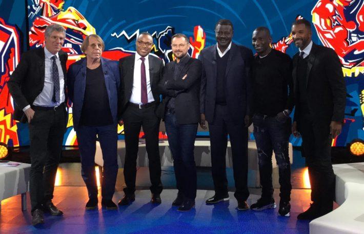 De gauche à droite : Philippe Doucet, Claude Le Roy, Charles Mbuya, Vincent Radureau, Pape Diouf, Mamadou Niang, et Habib Beye. (c) Bruno AHOYO